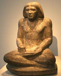 scribes~an ancient Egyptian scribe named Dersenedj from around 2400 BC