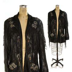 Fringed Black Leather Jacket / Native American Inspired Rock Stark Jacket / Silver Cabochons $276.00