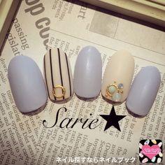 ネイル デザイン 画像 937253 青 ストライプ 春 ソフトジェル ハンド #nails #Japanese