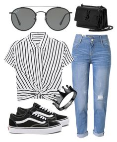 """Untitled #33"" by erika-wiebe on Polyvore featuring Vans, WithChic, T By Alexander Wang, Ray-Ban and Yves Saint Laurent"