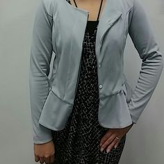 Light Gray Peplum Jacket NWOT Light Gray Peplum Jacket. Sweatshirt material. Ordered off Amazon, Medium but fits like a small. Ai Mei Li Jackets & Coats