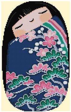 Kokeshi Sleepy Girl HARUNA Cross Stitch by CrossStitchRinna