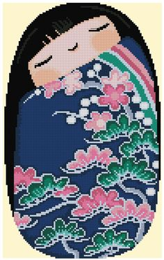 Kokeshi Sleepy Girl HARUNA Cross Stitch by CrossStitchRinna
