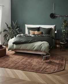 Botanical elements fit everywhere, even in the bedroom ⠀⠀⠀⠀⠀⠀⠀⠀⠀ Shop everything . Green Bedroom Walls, Bedroom Wall Colors, Bedroom Color Schemes, Home Decor Bedroom, Bedroom Furniture, Bedroom Inspo, Olive Green Bedrooms, Casa Magnolia, Small Bedroom Inspiration