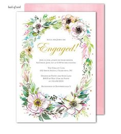 Announce your Engagement in style with this beautiful hand painted invitation featuring a rustic floral wreath. This stylish design is expertly printed on luxurious heavyweight paper. Blank envelopes are included. A portion of the proceeds from the sale of this product will be donated to breast cancer research & education.