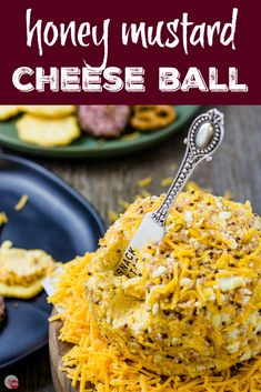 Honey Mustard Cheese Ball - Cheddar and Beer Cheese Ball Gluten Free Appetizers, Best Appetizers, Appetizer Recipes, Dessert Recipes, Desserts, Beer Cheese, Cheddar Cheese, Cheese Log, My Burger
