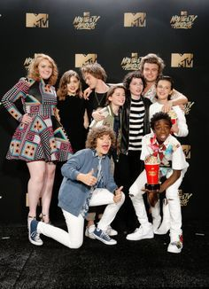Shannon Purser, Natalia Dyer, Charlie Heaton, Joe Keery, Noah Schnapp, Finn Wolfhard, Millie Bobby Brown, Gaten Matarazzo and Caleb McLaughlin of 'Stranger Things,' winner of the Show of the Year award, pose in the press room during the 2017 MTV Movie And TV Awards at The Shrine Auditorium on May 7, 2017 in Los Angeles, California.