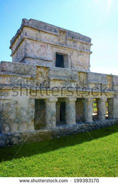 Mayan building or construction, religious porpuses in Tulum near of the beach, vertical photo
