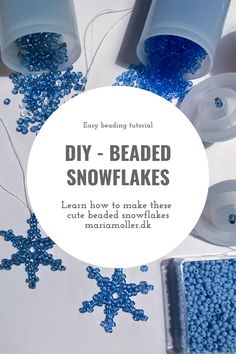 These cute beaded snowflakes are the perfect christmas ornament or could be used in a pair of earrings. Easy Beading Tutorials, Diy Tutorial, Snowflakes, Pearls, Christmas Ornaments, Learning, Winter, Cute, How To Make