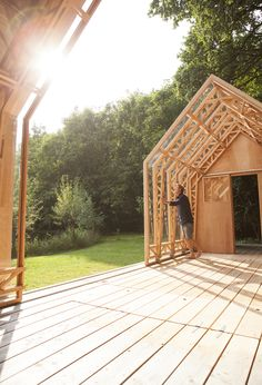Now You Can Build ANY Shed In A Weekend Even If You've Zero Woodworking Experience! Start building amazing sheds the easier way with a collection of shed plans! Eindhoven, Inside Garden, Home And Garden, Sliding Wall, Wood Architecture, Building A Shed, Shed Plans, House And Home Magazine, House In The Woods