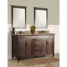 Foremost Ashburn 60 in. W x 21.50 in. D x 34 in. H Vanity Cabinet Only in Mahogany-ASGA6021D - The Home Depot