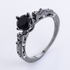Black sapphire gold ring by agemforthesoul on Etsy
