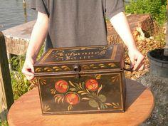 Early 19th Century Antique Pennsylvania German Folk Art Toleware Metal Cash Box! | eBay