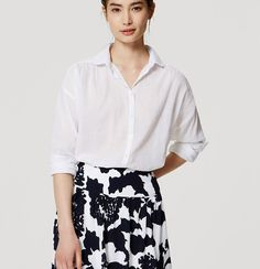 Shirred Softened Shirt | Loft