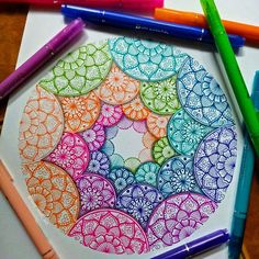 *join skill share now for 2 months of free membership (link in bio) Doodle Art Drawing, Zentangle Drawings, Mandala Drawing, Cool Art Drawings, Pencil Art Drawings, Zentangle Patterns, Colorful Drawings, Zentangles, Mandala Doodle