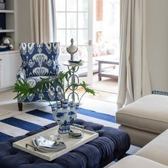 Blue and white was used to create a coastal, but very traditional and timeless style to the family room. #coastalhome #southernclassic #traditionalinteriors #blueinspiration #familyroom #classicinteriors