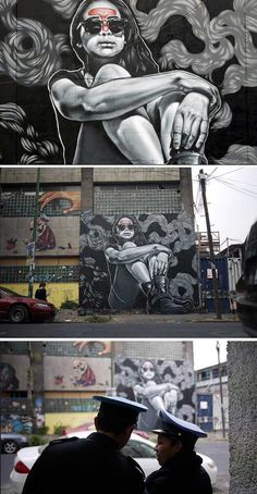Street Art by MTOFebruary 2014. MEXICO CITY. Collaboration wall with Paola DELFIN