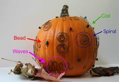 """If you are looking for a fun accent piece to add to one of your classroom Halloween displays, these """"Wired Pumpkins"""" from My Homemade Decorations (http://www.my-homemade-decorations.com/halloween-decorating-ideas-wired-pumpkin.html) are a creative idea for how to design an artistic pumpkin, instead of carving a traditional jack-o-lantern face."""