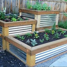 Potager Garden Raised Herb Garden timbers with galvanized metal sides - You will love these amazing Raised Herb Garden Planter Ideas and there is something for everyone. Watch the video tutorial too. Making Raised Garden Beds, Raised Herb Garden, Herb Garden Planter, Building A Raised Garden, Garden Boxes, Raised Beds, Herbs Garden, Fence Garden, Metal Raised Garden Beds
