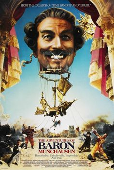 The Adventures of Baron Munchausen is a 1988 adventure fantasy film cowritten and directed by Terry Gilliam starring John Neville Sarah Polley Eric Idle Streaming Movies, Hd Movies, Movies To Watch, Movies Online, Movies And Tv Shows, Movie Tv, Movie Poster Art, Poster S, Steampunk Movies