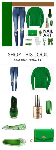 """Green Nails"" by mandeerose ❤ liked on Polyvore featuring beauty, WithChic, J.Crew, Vintage Del Forte, Mulberry and Thomas Sabo"