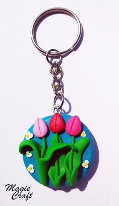 Keychain tulips in Fimo by MagieCraft on Etsy