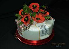 Red poppy Birthday cake and Ukrainian towel.All edible.