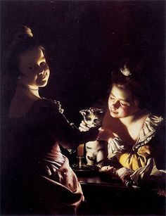 Painting Title: Two Girls Dressing a Kitten by Cadlelight, c.1768/70 | Artist: Joseph Wright of Derby (1734-1797)