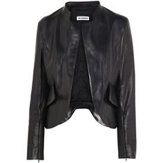 Jil Sander Nostradamus peplum-back leather jacket ($3,570) ❤ liked on Polyvore