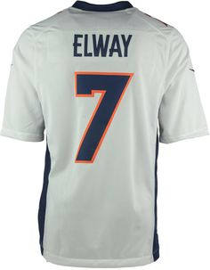 No one can doubt your status as a true Denver Broncos fan when you're wearing your Nike John Elway Limited jersey. Elements like strategic ventilation and a no-tag neck label add comfort, and the tackle twill details add an appealing note of authenticity. V-neckline Pullover style Short sleeves Screen print graphics throughout Fabric applique numbers and letters at front and back Ventilation panels at sides Jock tag at hem Tagless