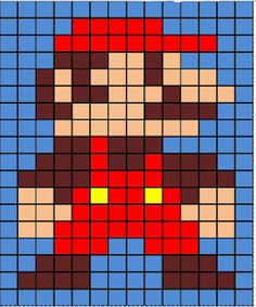 My blank Mario grid. This was the pattern I used for my granny square blanket, but it can easily be applied to cross-stitch or other pixelated crafts.