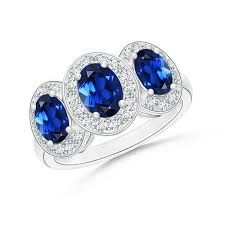 Image result for diamond halo blue sapphire five stone
