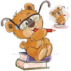 Vector illustration of a brown teddy bear with eyeglasses sits on a pile of books with a pencil in his paws and thinks, Print, template, design element - compre este vetor na Shutterstock e encontre outras imagens. Buy Teddy Bear, Teddy Bear Cartoon, Brown Teddy Bear, Cute Teddy Bears, Cute Cartoon, Cartoon Kids, Bear Vector, Photographer Business Cards, Diy Toy Storage