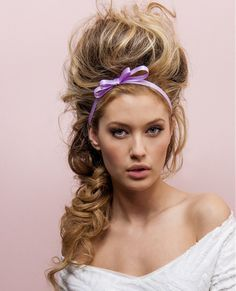 Long Blonde wavy coloured multi-tonal volume updo womens hairstyles for women