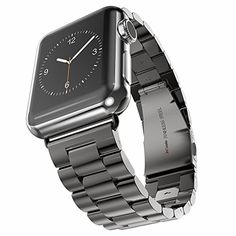 Apple Watch Band, HCE Stainless Steel Link Bracelet, 42mm Sport Bands for iWatch All Models, Double Button Folding Clasp - Black