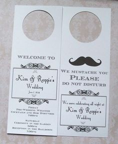Hotel Door Hangers  MUSTACHE  Double Sided for Out of Town