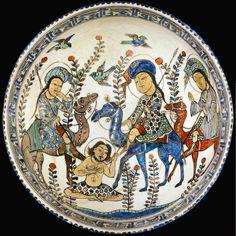 Layla finds Majnun in the wilderness. A Seljuq Bowl, Kashan, c.1220. Sotherbys, 2013 sale, Lot 118