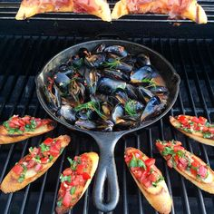 Dinner tonight felt as though my wife and I were sharing appies & a glass of wine on a restaurant patio. Grilled prosciutto & cantaloupe, bruschetta and mussels in a spicy tomato sauce (served with extra bread for dipping) #DateNight Hope you are enjoying your evening as much as we are. #weberfun #Lodgecastiron @zimmysnook
