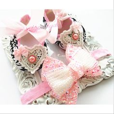 Baby Crib Shoes Baby Shoes and Headband Baby by mintypinky on Etsy