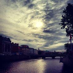 River Liffey, Dublin Dublin Hotels, Castle, River, Celestial, Sunset, Places, Instagram Posts, Outdoor, Outdoors