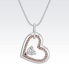 This unique pendant is lined with an intricate twisted rope crafted from rose gold. Heart Jewelry, Cute Jewelry, Diamond Pendant, Diamond Jewelry, Heart Pendant Necklace, White Sapphire, Chain Pendants, Jewelry Stores, Heart Shapes