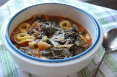 Tortellini soup with beans and Swiss chard. I added ground beef, fennel and mushrooms.