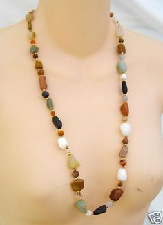 Multi Colored AGATE Bead & Brass Necklace 28 inch New | eBay