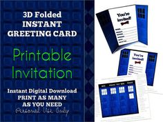 3D Blue Police Box Invitation Card by BohoBearPaperStudio on Etsy, $10.00