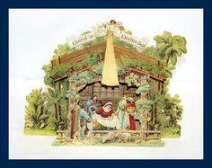 Schöne alte Faltkrippe / Weihnachtskrippe aus tiefgeprägter Pappe (# 5213)