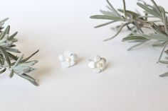 White Forget-Me-Not Leather and Pearl post earrings Forget Me Not, Timeless Elegance, Leather Jewelry, White Leather, White Flowers, Stud Earrings, Pearls, Crafts, Cottage
