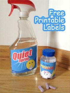 FREE Labels for Classroom - Quiet Spray & Brain PowerJust for fun!