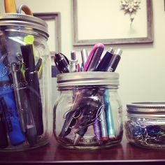 Ball Jar Desk Storage