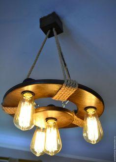 Купить Деревянная люстра c винтажными лампами - коричневый, состаренное дерево, цепь, джутовый шпагат