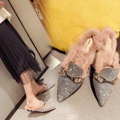 [leggycozy] Elegant Bling Rhinestone Pointed Toe British Buckle Warm F Cat Shoes, Women's Shoes, Kawaii Shoes, Winter House, Fur Slides, Mules Shoes, Womens Flats, Designer Shoes, Cartoons